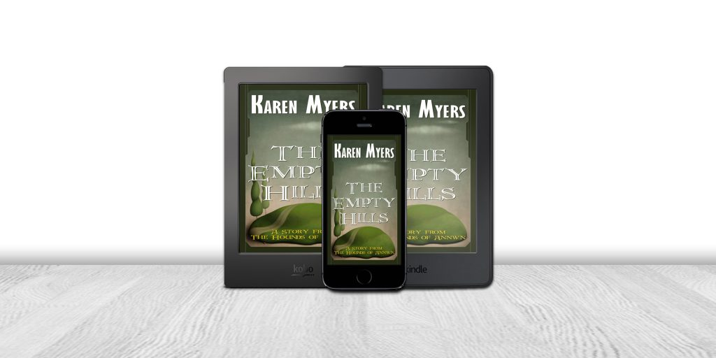 Display of available formats for The Empty Hills, a short story from The Hounds of Annwn. Written by Karen Myers (HollowLands.com). Published by Perkunas Press (PerkunasPress.com).
