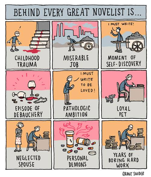 Behind every great novelist - Grant Snider