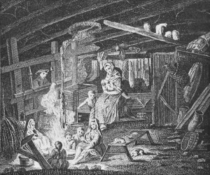 Weaving at home, 1700s