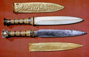The pair of daggers from Tut's tomb - gold and iron.