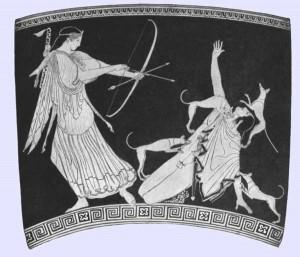 Artemis hunting Actaeon