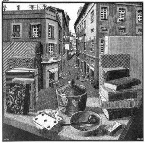 Still Life and Street, M.C. Escher, 1937