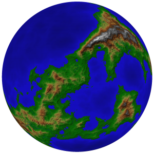 One hemisphere of the world of the Chained Adept