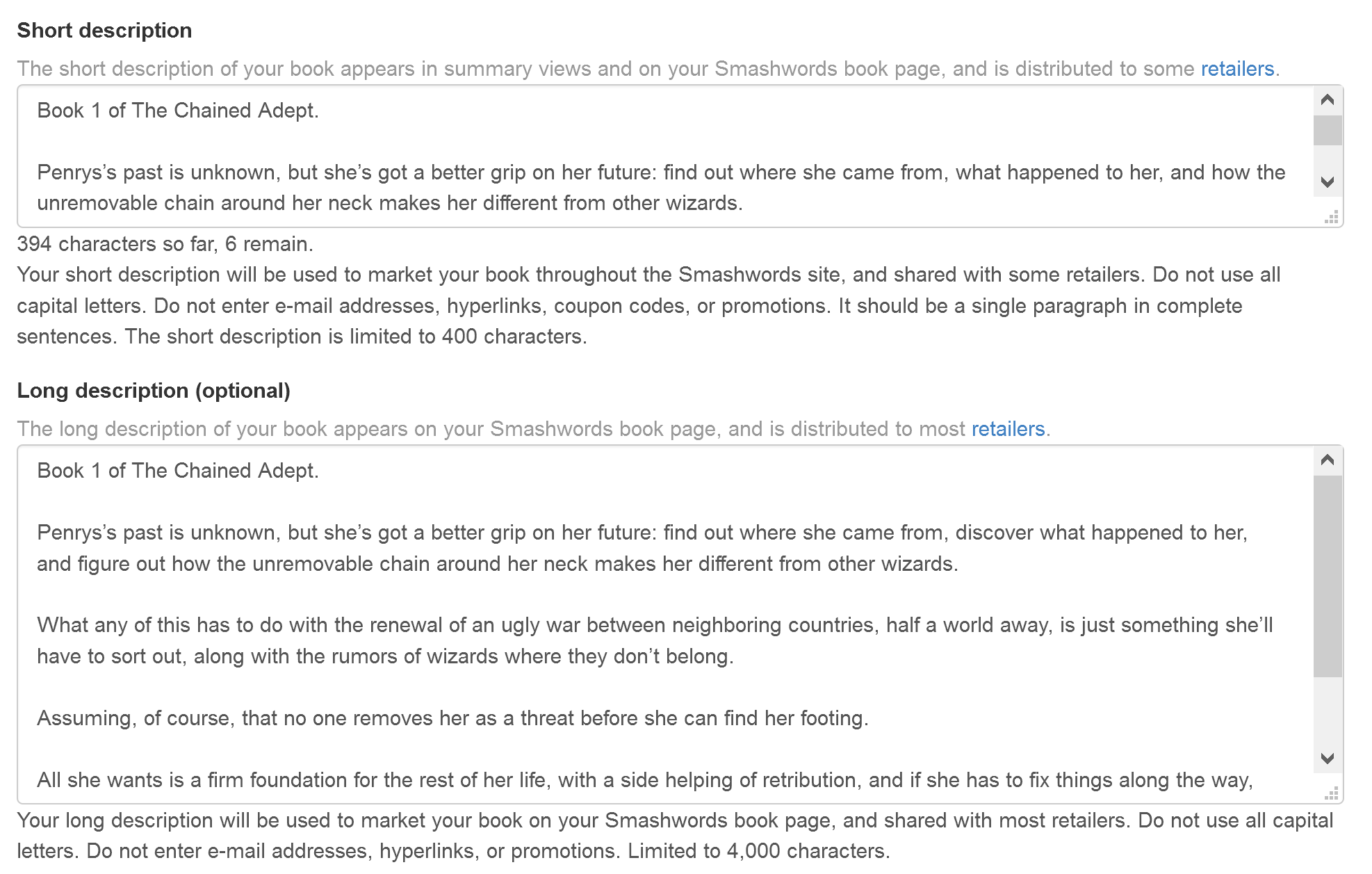 Why your book descriptions dont look right hollowlands which looks fine on the smashwords site fandeluxe Choice Image