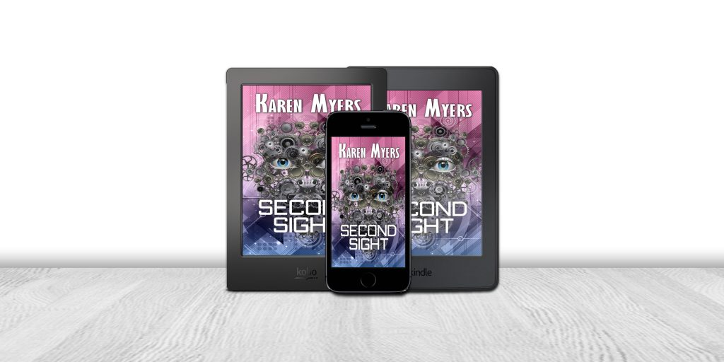 Display of available formats for Second Sight, a science fiction short story. Written by Karen Myers (HollowLands.com). Published by Perkunas Press (PerkunasPress.com).