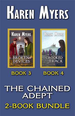 The Chained Adept (3-4), a book bundle of Broken Devices and On a Crooked Path by Karen Myers