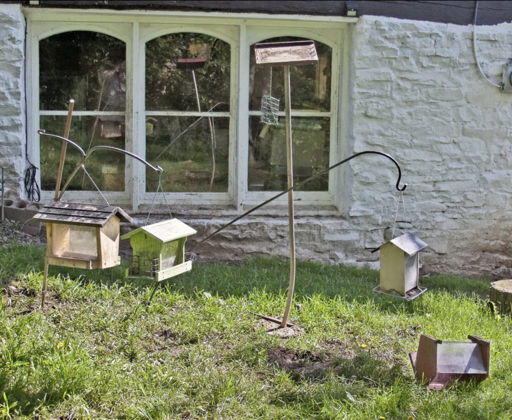 Image of destroyed bird feeders