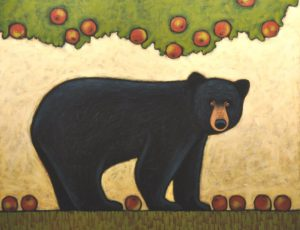 Painting of a black bear under an apple tree